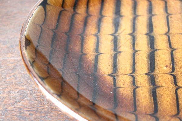 十場天伸 スリップウェア 楕円皿