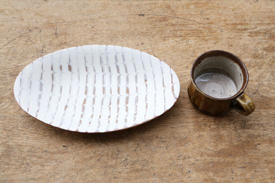 十場天伸 楕円皿